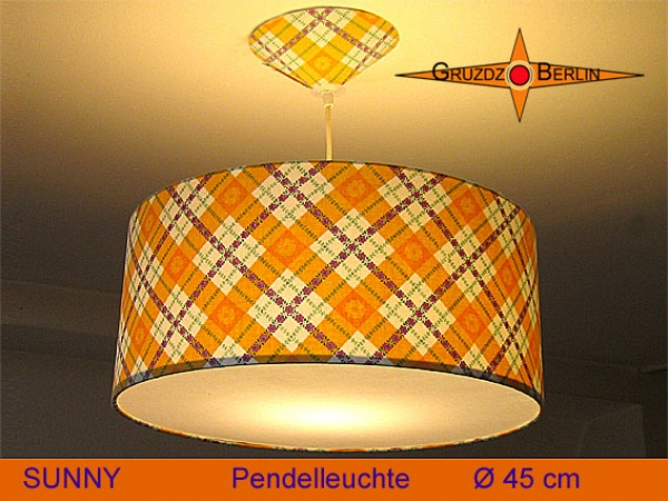 Lamp SUNNY Ø 45 cm, pendant lamp with diffuser and canopy, sun yellow