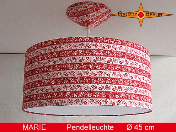 Lamp MARIE Ø 45cm, pendant lamp with diffuser and canopy, ring red