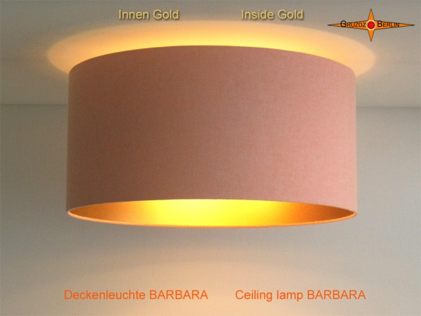Ceiling lamp inside gold BARBARA Ø45 cm in apricot colored linen