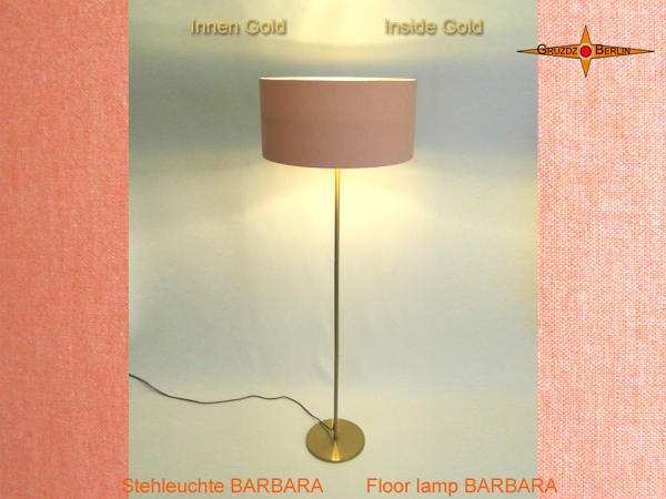 Floor lamp interior gold BARBARA of salmon-colored linen