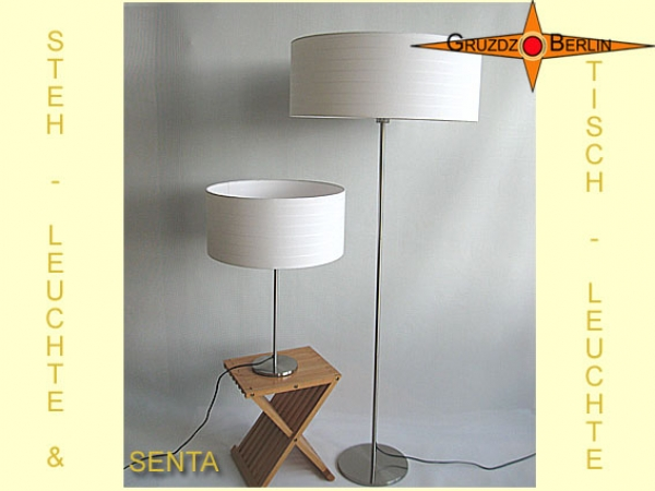 SET: Floor & table-lamp SENTA h 155 cm light natur