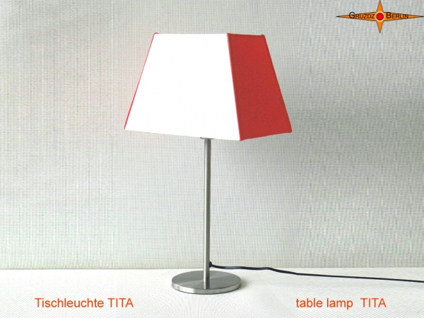 Rectangular table lamp orange white TITA made of linen