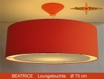 Lounge lamp BEATRICE Ø 70 cm pendant lamp with light edge and canopy orange