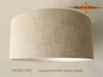 Drum lamp shade natural linen PENELOPE d 40 cm